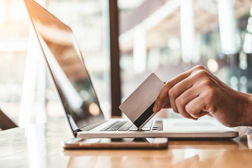 online shopping with card